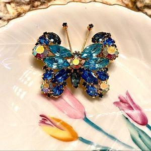 Vtg Weiss blue & AB rhinestones butterfly brooch
